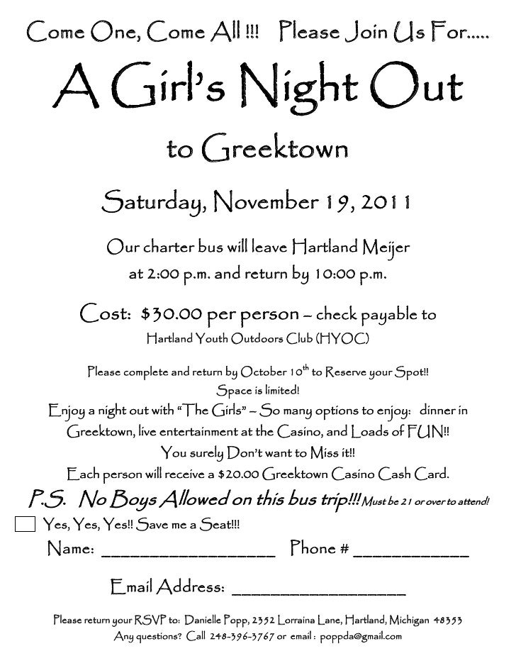 Come One, Come All !!! Please Join Us For…..   A Girl's Night Out                           to Greektown             Satur...