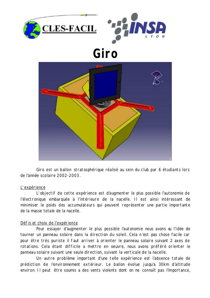 Giro         Giro est un ballon stratosphérique réalisé au sein du club par 6 étudiants lorsde l'année scolaire 2002-2003....