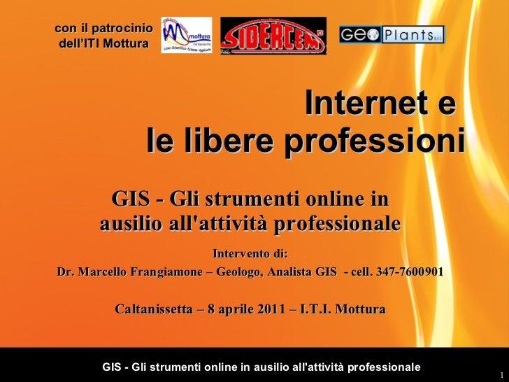 Internet e  le libere professioni GIS - Gli strumenti online in ausilio all'attività professionale Caltanissetta – 8 april...