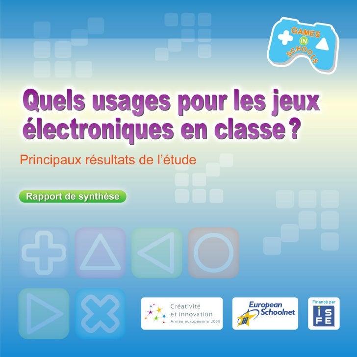 Ce rapport de synthèse est un résumé des principaux résultats d'une étude intitulée Quels usages pour les jeux électroniqu...