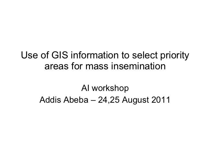 Use of GIS information to select priority areas for mass insemination AI workshop Addis Abeba – 24,25 August 2011