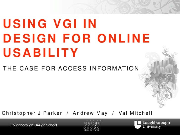 USING VGI IN DESIGN FOR ONLINE USABILITY