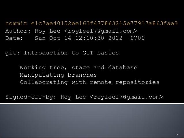 Introduction to Git Basics
