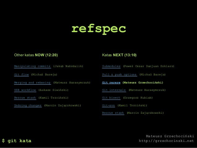 refspec    Other katas NOW (12:20)                      Katas NEXT (13:10)    Manipulating commits (Jakub Nabrdalik)      ...
