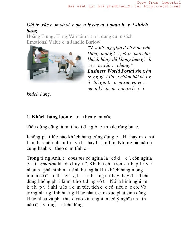 Copy from bwportal                    Bai viet gui boi phamthao_91 tai http://ecvin.netGiá trị xúc cảm và việc quản lý các...