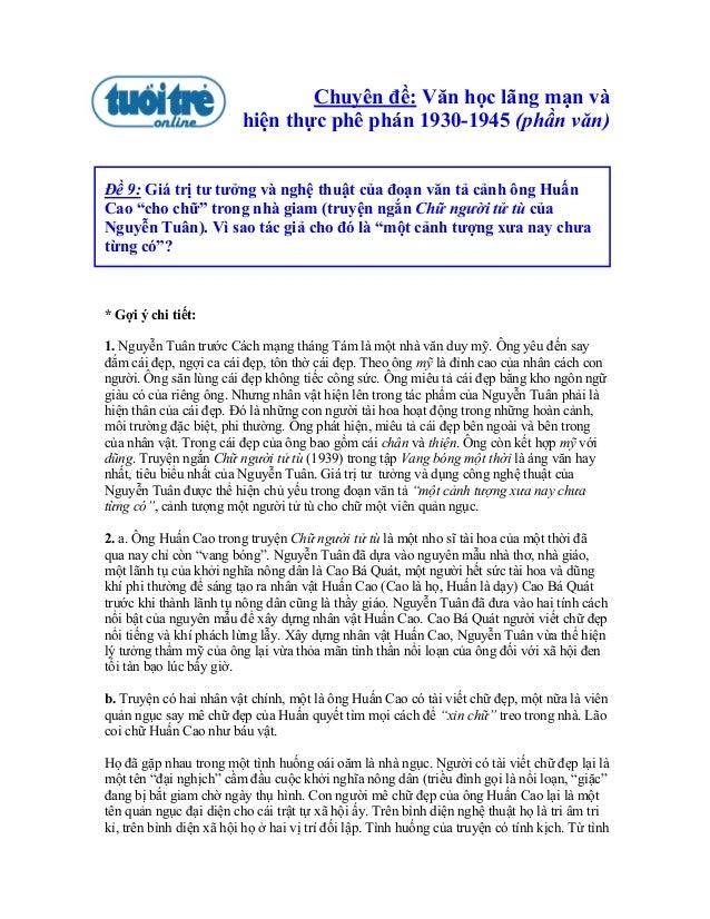 Chuyên đề: Văn học lãng mạn và                         hiện thực phê phán 1930-1945 (phần văn)Đề 9: Giá trị tư tưởng và ng...
