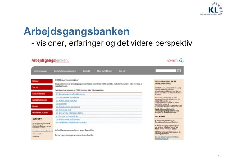 Arbejdsgangsbanken  <ul><li>- visioner, erfaringer og det videre perspektiv </li></ul>
