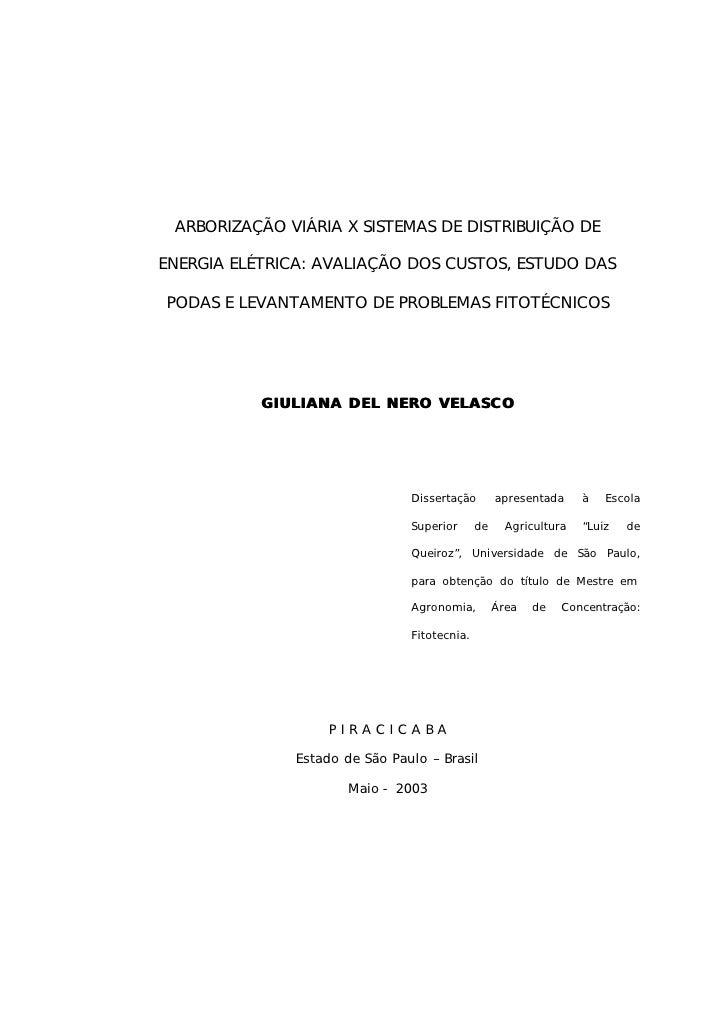 ARBORIZAÇÃO VIÁRIA X SISTEMAS DE DISTRIBUIÇÃO DEENERGIA ELÉTRICA: AVALIAÇÃO DOS CUSTOS, ESTUDO DASPODAS E LEVANTAMENTO DE ...