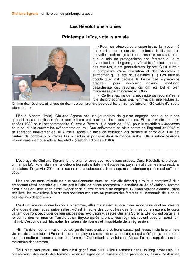 Giuliana Sgrena : un livre sur les printemps arabes Les Révolutions violées Printemps Laïcs, vote islamiste « Pour les obs...