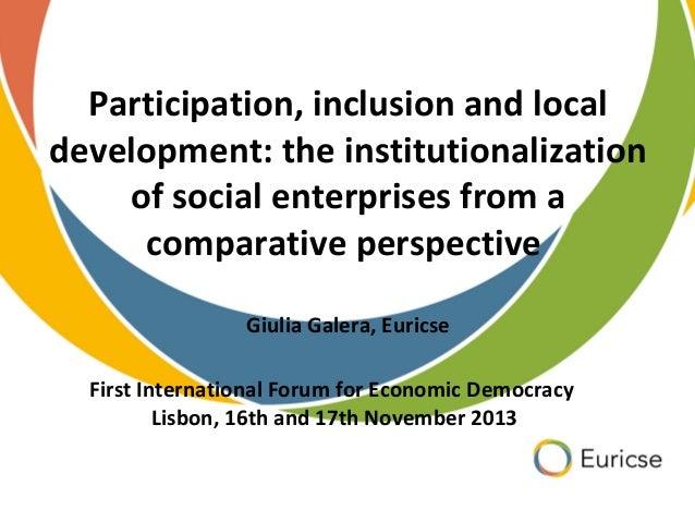 Participação, Inclusão e Desenvolvimento Local: A Institucionalização das Empresas Sociais a partir de uma Perspectiva Comparativa - Giulia Galera