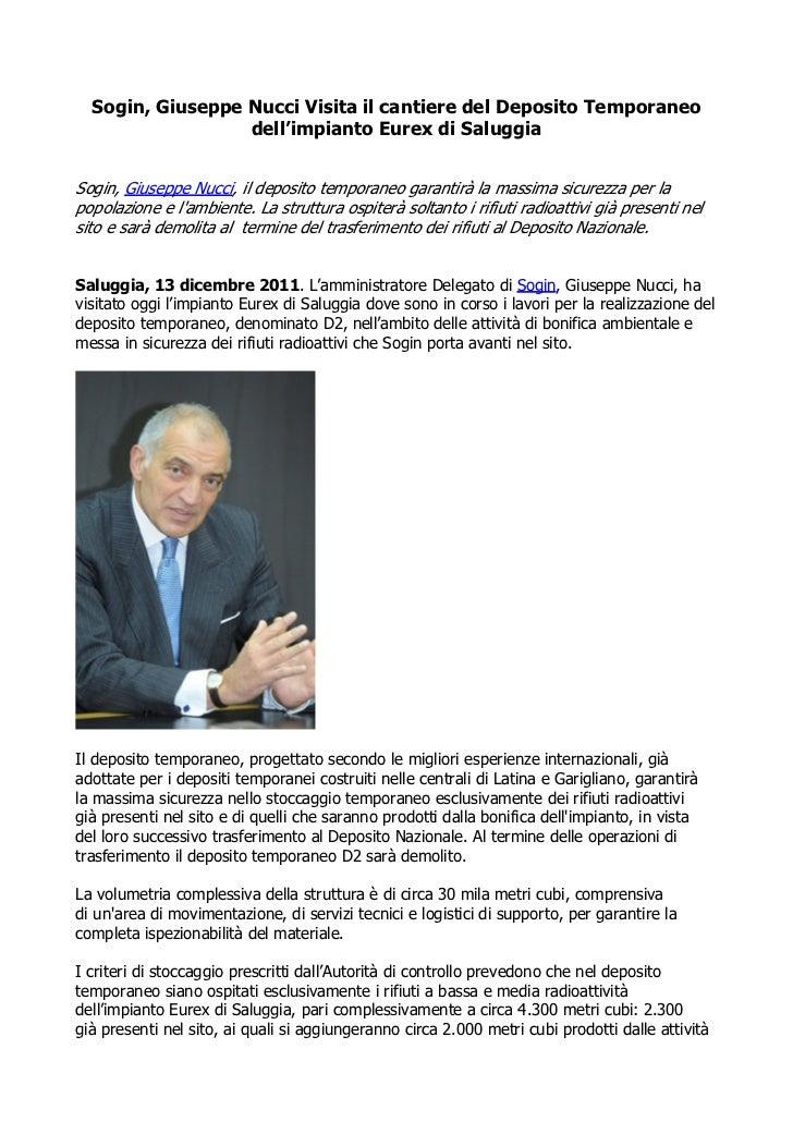 Sogin, Giuseppe Nucci Visita il cantiere del Deposito Temporaneo                  dell'impianto Eurex di SaluggiaSogin, Gi...