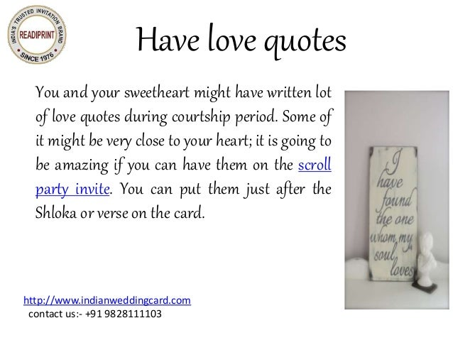 Give wedding invitations unique creative twist for Love quotes for card