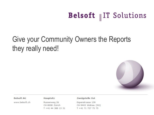 Give your Community Owners the Reports they really need!