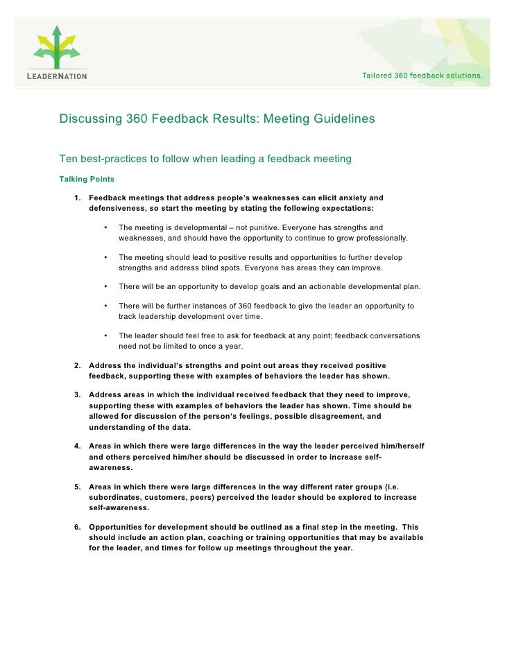 Discussing 360 Feedback Results: Meeting Guidelines   Ten best-practices to follow when leading a feedback meeting Talking...