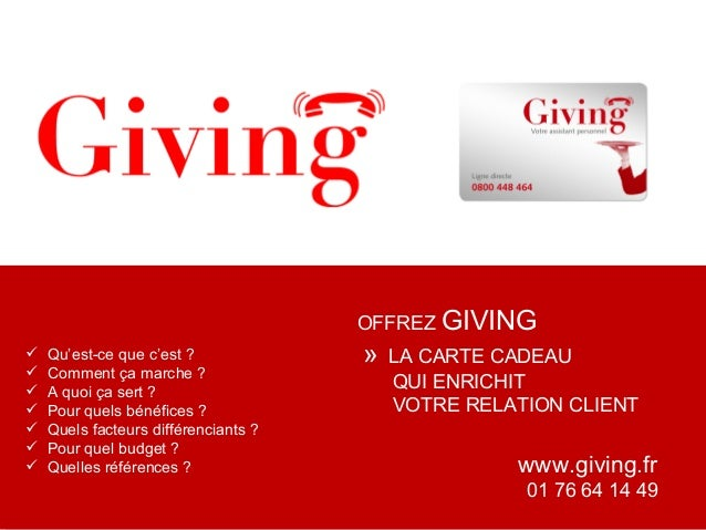 Présentation Giving pour les Marques