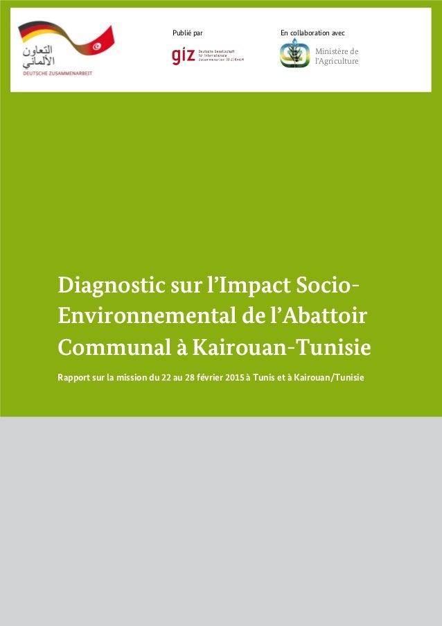 Diagnostic sur l'Impact Socio- Environnemental de l'Abattoir Communal à Kairouan-Tunisie Rapport sur la mission du 22 au 2...