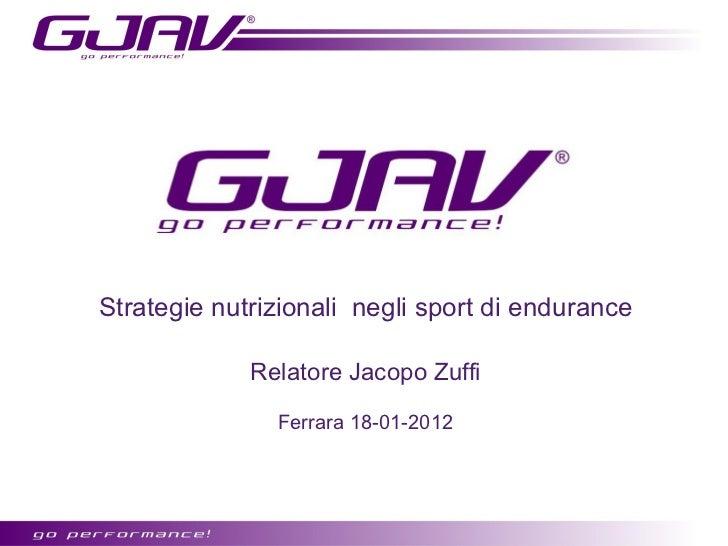 Strategie nutrizionali negli sport di endurance             Relatore Jacopo Zuffi               Ferrara 18-01-2012