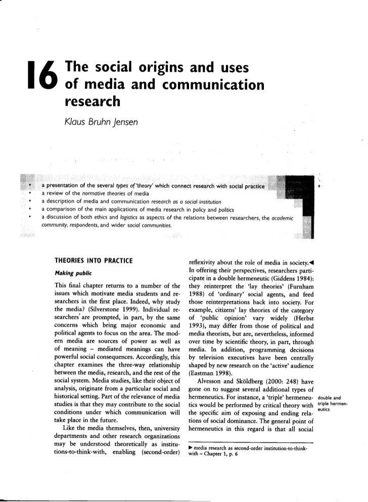 16            The social origins and uses                  of media and communication                  research           ...