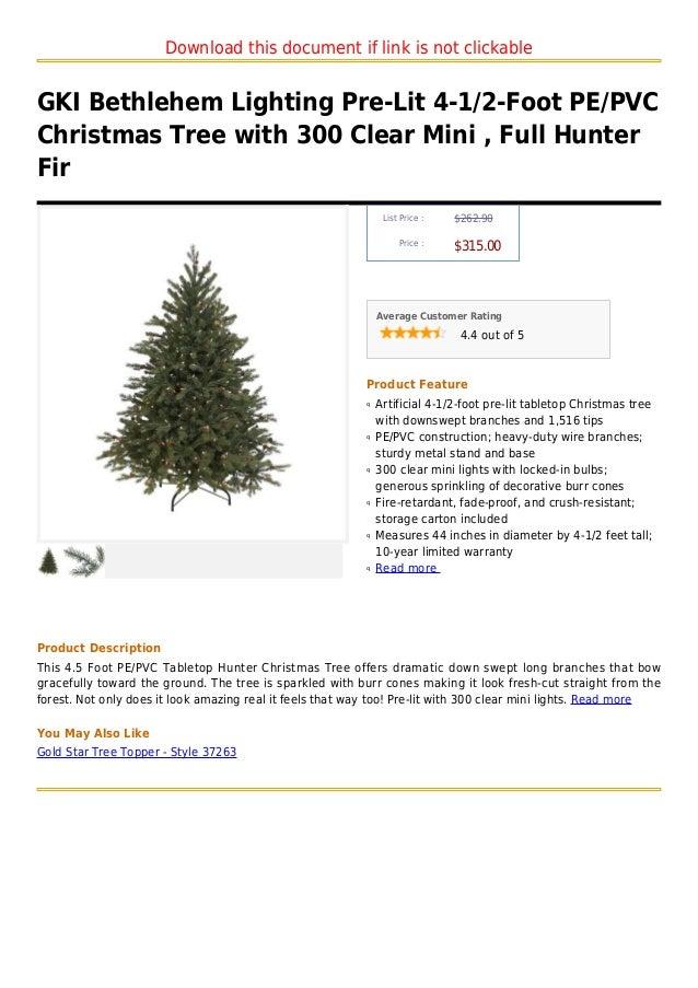 Gki Bethlehem Lighting Pre Lit 4 1 2 Foot Pe Pvc Christmas Tree With