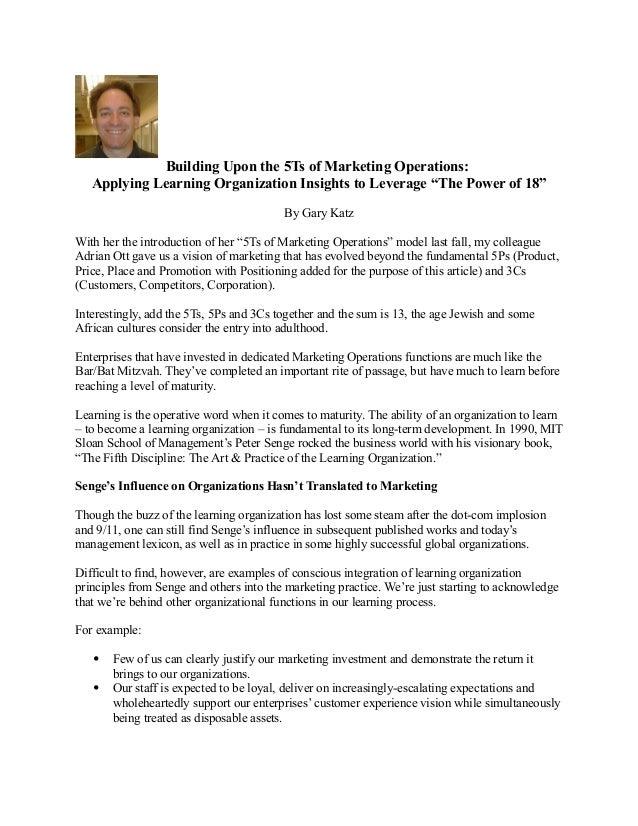 Applying Learning Organization Insights to Marketing