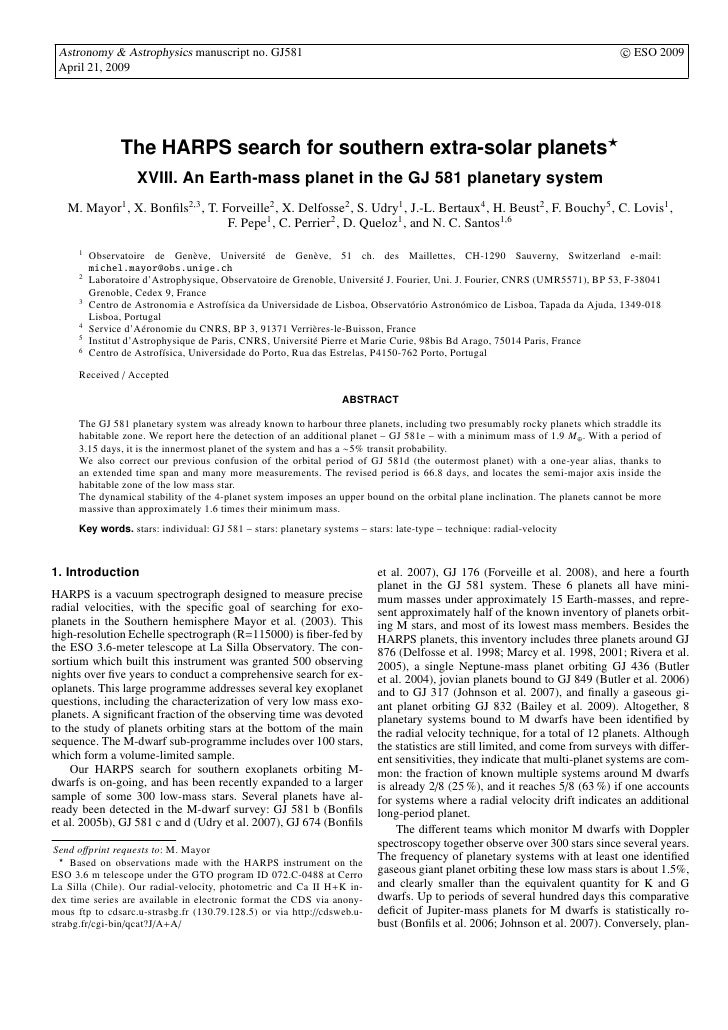 c ESO 2009  Astronomy & Astrophysics manuscript no. GJ581  April 21, 2009                     The HARPS search for souther...