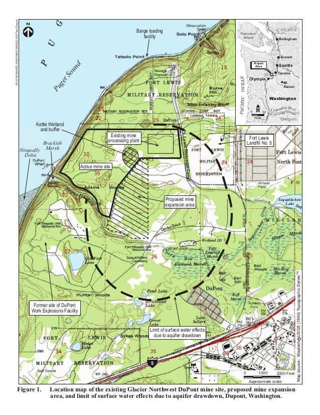 Figure 1. Location map of the existing Glacier Northwest DuPont mine site, proposed mine expansion area, and limit of surf...