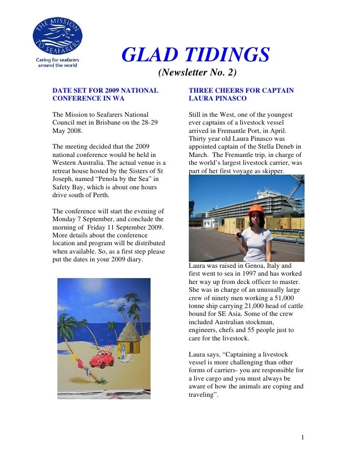 GLAD TIDINGS                                        (Newsletter No. 2) DATE SET FOR 2009 NATIONAL                   THREE ...
