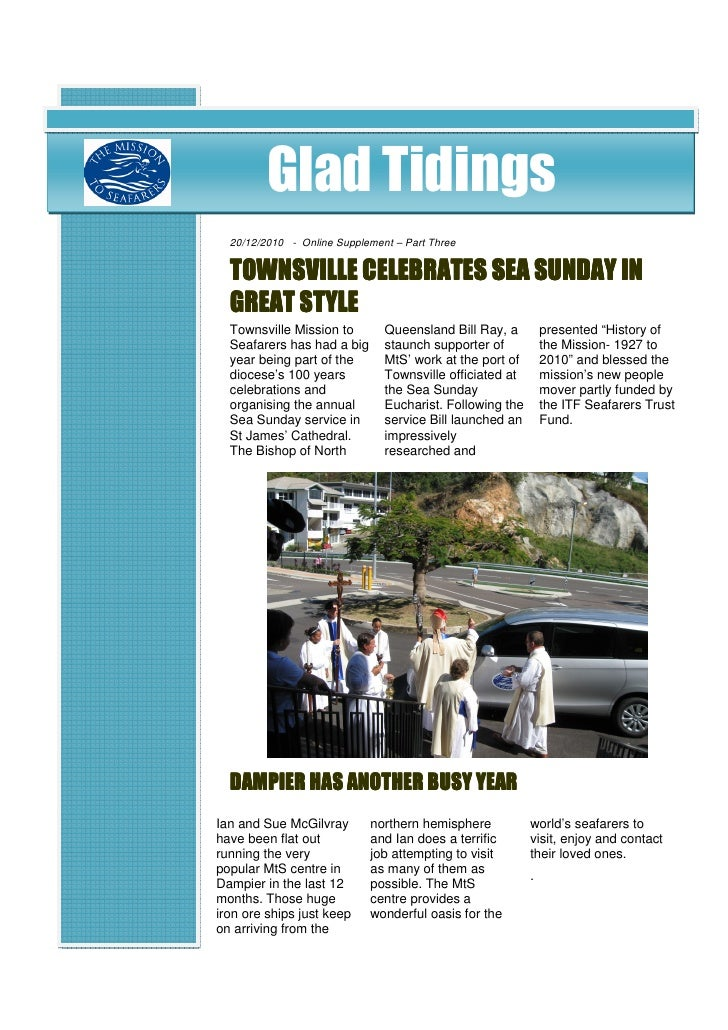Glad Tidings  20/12/2010 - Online Supplement – Part Three              CELEBRATES  TOWNSVILLE CELEBRATES SEA SUNDAY IN  GR...
