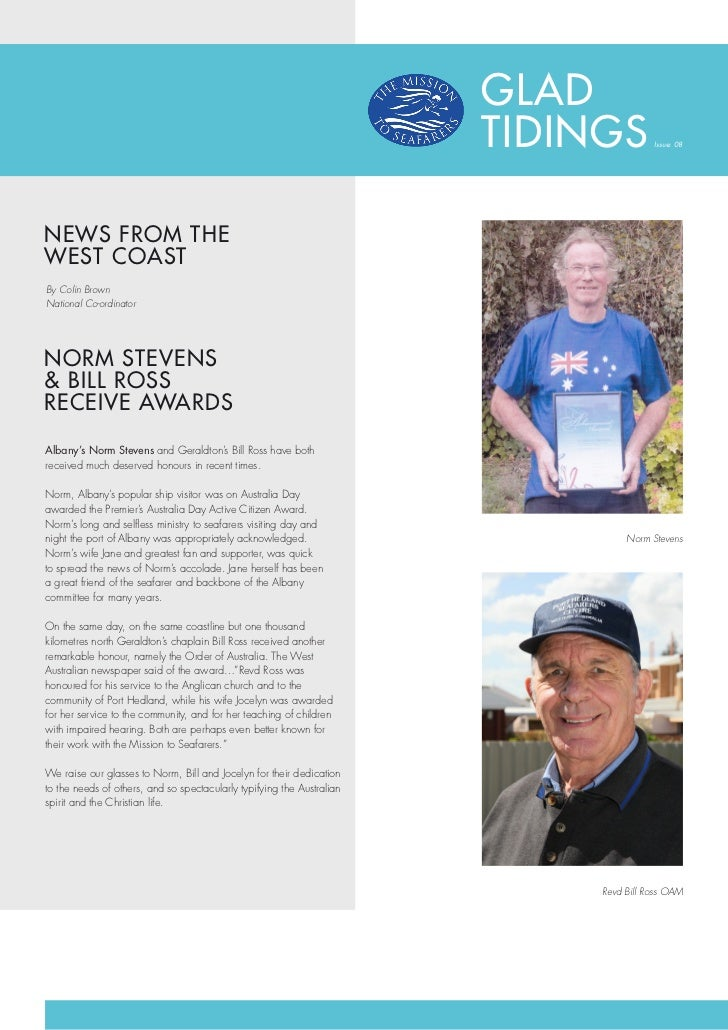 GLAD                                                                        TIDINGS         Issue: 08NEWS FROM THEWEST COA...