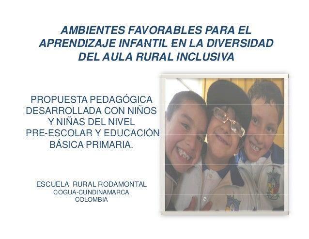 AMBIENTES FAVORABLES PARA EL  APRENDIZAJE INFANTIL EN LA DIVERSIDAD  DEL AULA RURAL INCLUSIVA  PROPUESTA PEDAGÓGICA  DESAR...