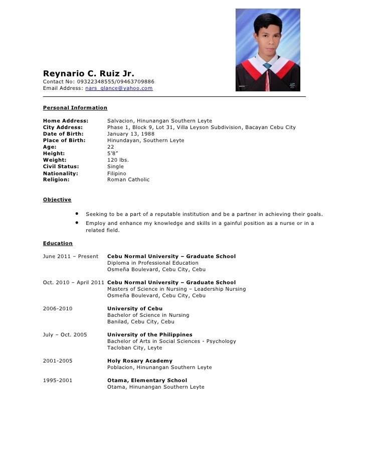 Example Format Of Resume Basic Resume Format Examples Sample Of A