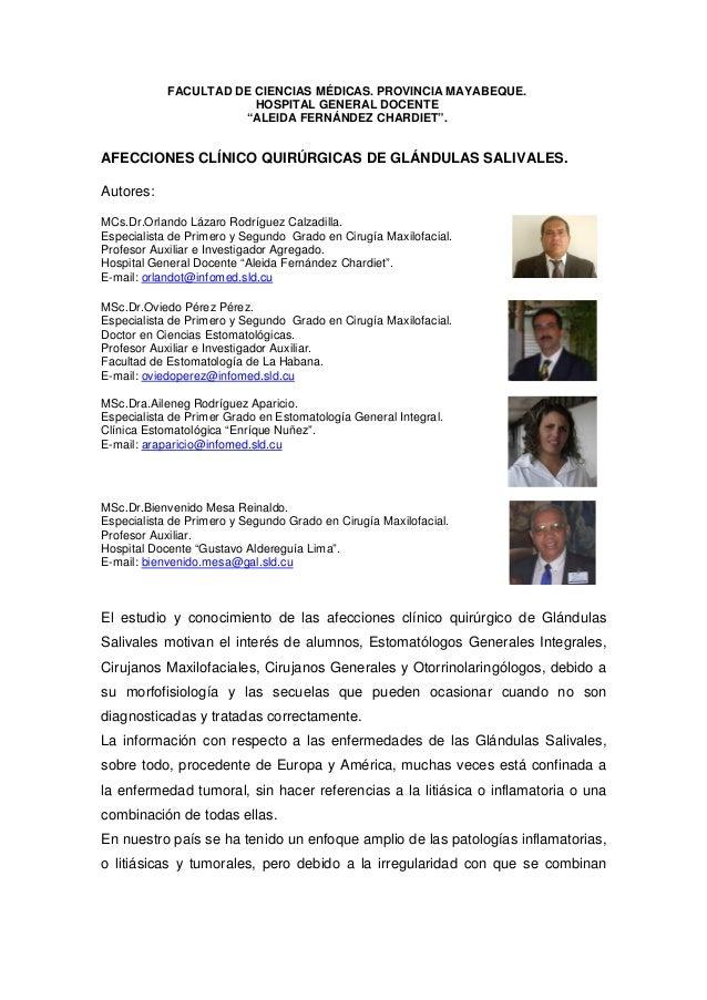 """FACULTAD DE CIENCIAS MÉDICAS. PROVINCIA MAYABEQUE. HOSPITAL GENERAL DOCENTE """"ALEIDA FERNÁNDEZ CHARDIET"""". AFECCIONES CLÍNIC..."""