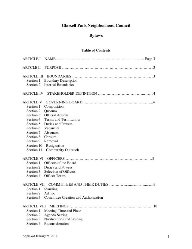 Approved January 26, 2014 1 Glassell Park Neighborhood Council Bylaws Table of Contents ARTICLE I NAME …………………………………………………...