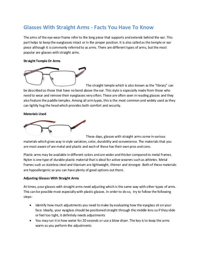 Glasses With Straight Arms - Facts You Have To Know