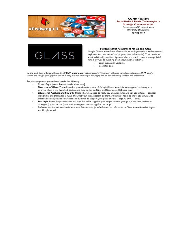Google Glass Strategic Brief Assignment [Spring 2014]