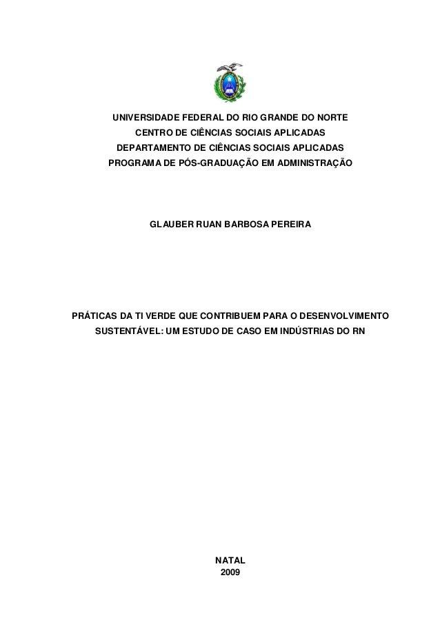 UNIVERSIDADE FEDERAL DO RIO GRANDE DO NORTE           CENTRO DE CIÊNCIAS SOCIAIS APLICADAS        DEPARTAMENTO DE CIÊNCIAS...