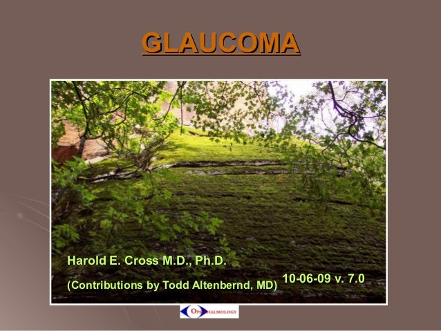 GLAUCOMA  Harold E. Cross M.D., Ph.D. (Contributions by Todd Altenbernd, MD)  10-06-09 v. 7.0