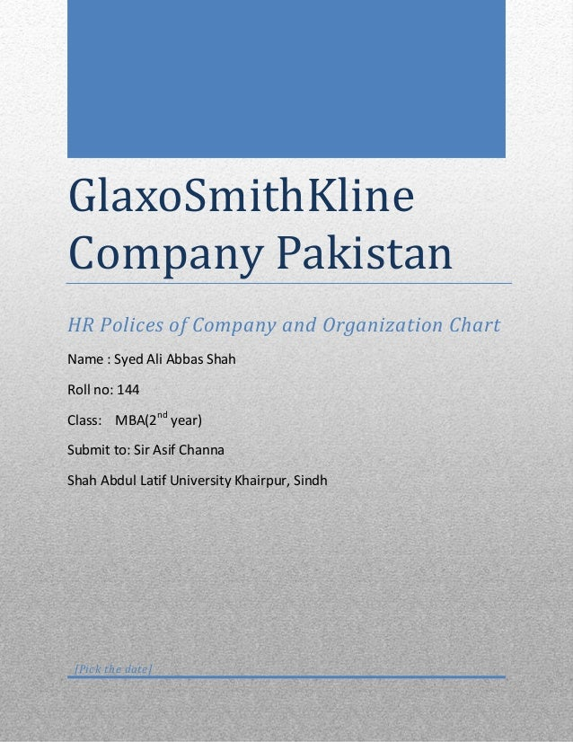 GlaxoSmithKline Company Pakistan HR Polices of Company and Organization Chart Name : Syed Ali Abbas Shah Roll no: 144 Clas...
