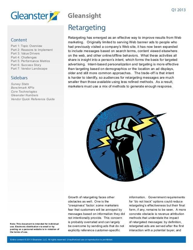 Retargeting Benchmark Report - Q1 2013