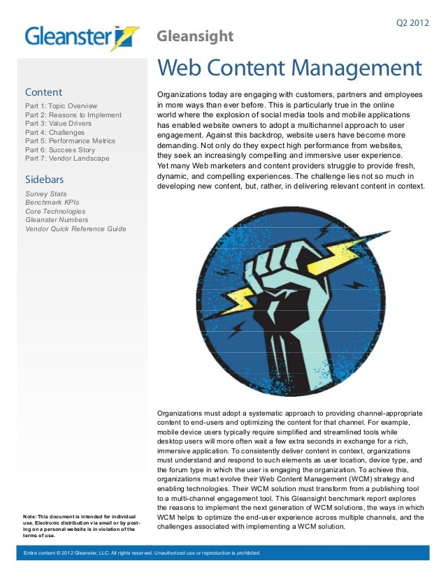 Web Content Management Benchmark Reprot