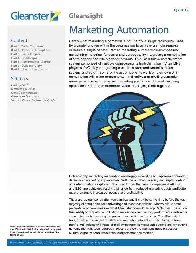 Marketing Automation Benchmark Report- Q3 2012