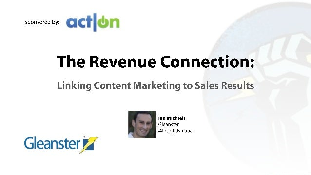 Linking Inbound Marketing to Sales Results: The Revenue Connection for Content Marketing