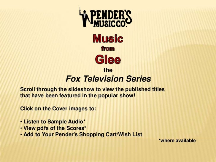 GLEE | Choral Sheet Music from the Fox TV Series