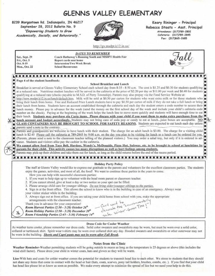 Glenns Valley Elementary bulletin