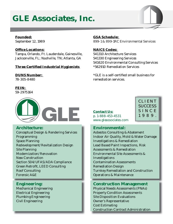 GLE Associates, Inc.Founded:                                       GSA Schedule:September 12, 1989                        ...