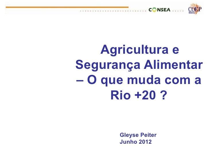 Agricultura eSegurança Alimentar– O que muda com a     Rio +20 ?      Gleyse Peiter      Junho 2012