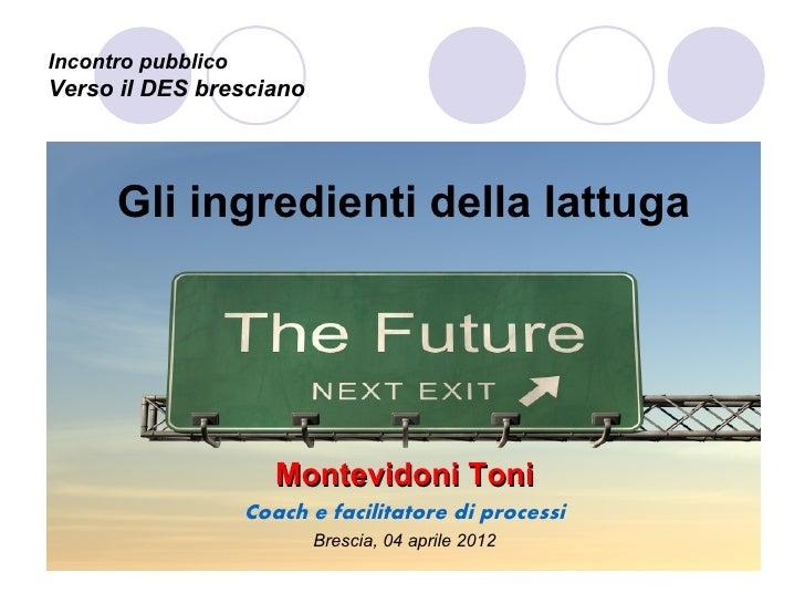 Incontro pubblicoVerso il DES bresciano      Gli ingredienti della lattuga                       Montevidoni Toni         ...