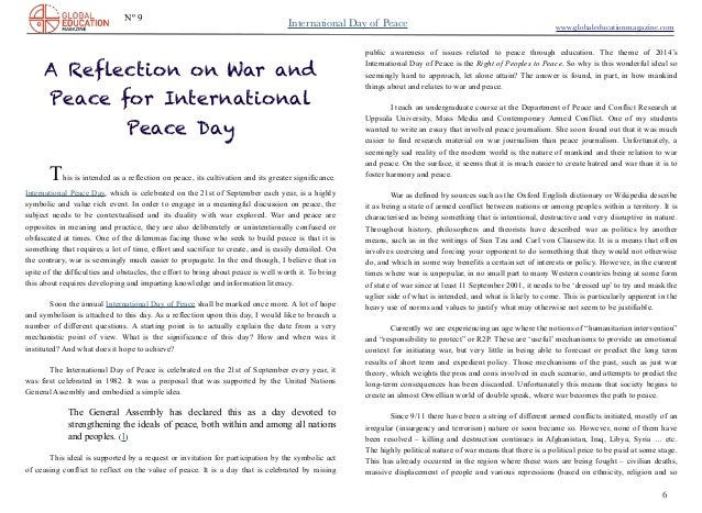 essay on war for peace