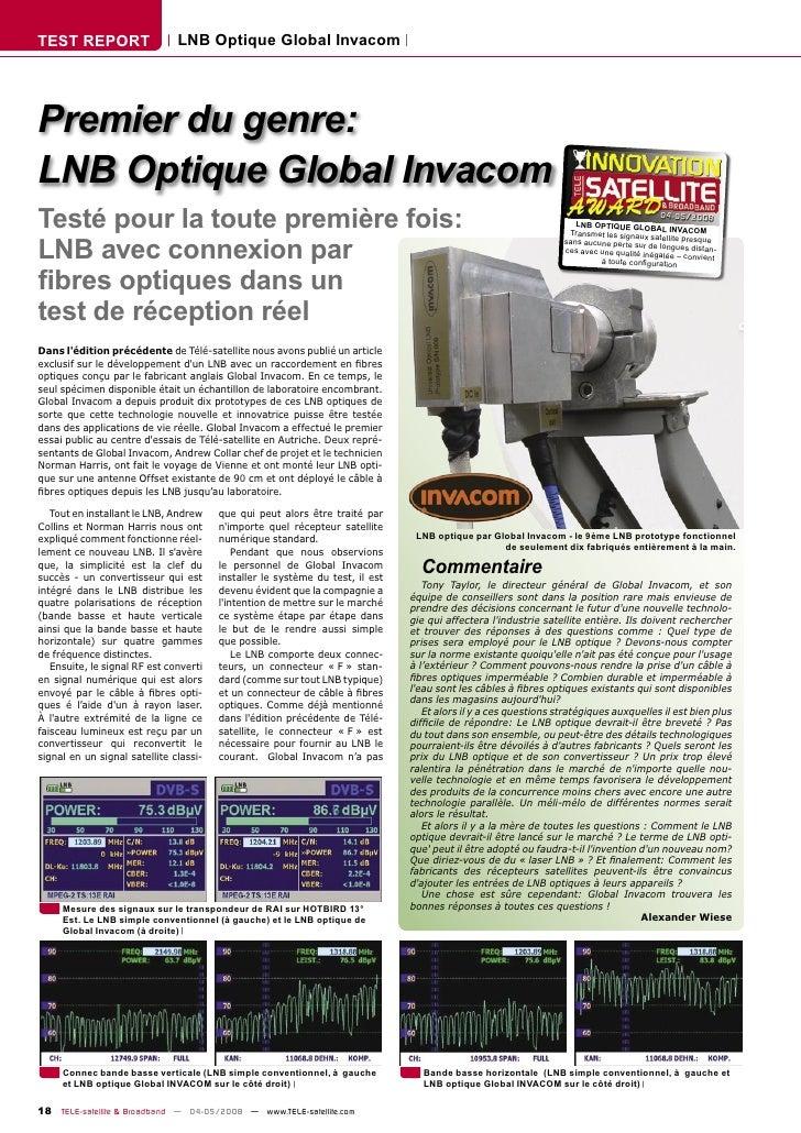TEST REPORT                    LNB Optique Global Invacom     Premier du genre: LNB Optique Global Invacom Testé pour la t...