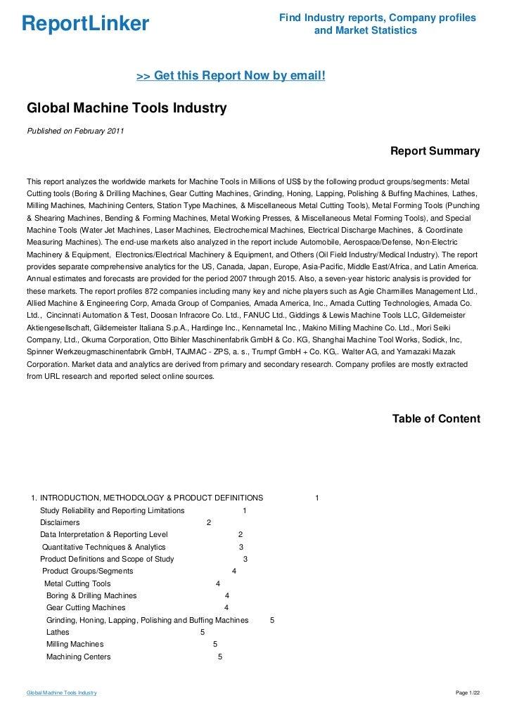 Global Machine Tools Industry